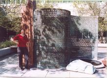 Elonka at Kryptos, October 2002